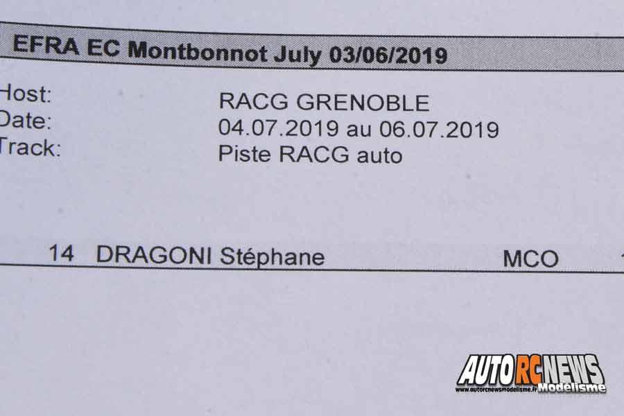 championnats d'europe piste 1/8 thermique 4 x 4 à grenoble au club racg du 1er au 6 juillet 2019